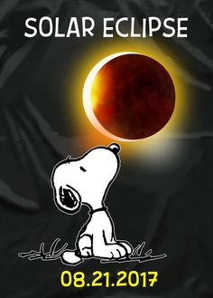 Snoopy celebrates the Complete Solar Eclipse on 8/21/2017 in the United States of America.