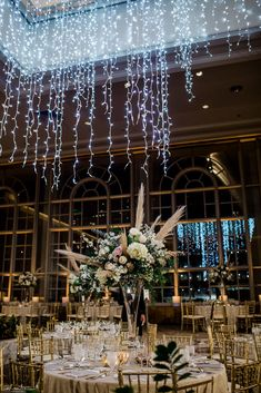 Elevated wedding reception floral with white hydrangea and roses on a tall crystal vase for a New Years Eve wedding at Fairmont Olympic Hotel Seattle. Ballroom Wedding Reception, Wedding Reception Flowers, Winter Wedding Flowers, Floral Wedding, Tall Wedding Centerpieces, Wedding Flower Arrangements, Floral Centerpieces, Grass Centerpiece, Winter Wedding Ceremonies