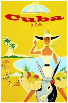 Cuba Such Beautiful Island Travel Vintage Poster