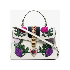 Gucci Medium Embroidered Sylvie Tote Bag (€3.050) ❤ liked on Polyvore featuring bags, handbags, tote bags, white, leather purse, shoulder handbags, gucci purse, white shoulder bag and genuine leather handbags