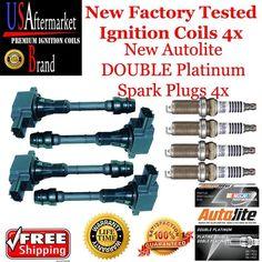 Ignition coil spark plug kit for 2005 Nissan Altima 2.5L 4+4 dbl plat #USAftermarketcoilAutoliteplugs