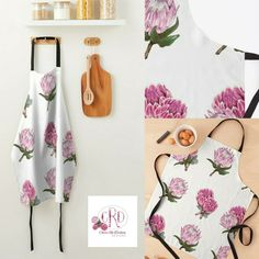 Art by Cherie Roe Dirksen   #art #apron #kitchenaccessories #proteas Top Blogs, Aprons, Gifts For Her, Bbq, Store, Holiday, Kitchen, Pattern, Pink
