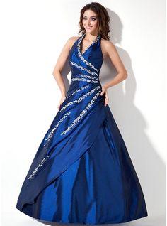 A-Line/Princess Halter Floor-Length Taffeta Quinceanera Dress With Beading Sequins