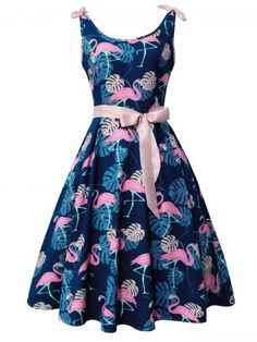 6a3b60d9486 Flamingo and Monstera Print Vintage Cocktail Dress