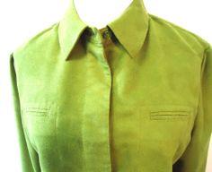 Women's Green CHICO'S DESIGN Faux Suede Microfiber Career Blouse JacketSz1 Nice