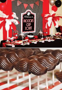 The stache-pops give me the giggles A red, white and black sweet table, ideal for a '20s party