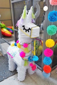 Llama Pinata from a Colorful Birthday Fiesta on Kara's Party Ideas Mexican Birthday Parties, Colorful Birthday Party, First Birthday Parties, Birthday Party Decorations, Mexican Party, Halloween Decorations, Birthday Pinata, Llama Birthday, 1st Birthday Girls