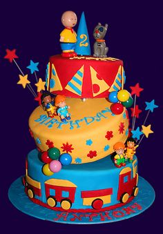 Caillou cake. Love it but don't feel like dealing with fondant for my kids birthday this year!