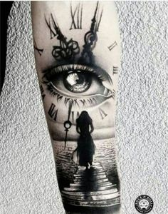 Our Website is the greatest collection of tattoos designs and artists. Find Inspirations for your next Clock Tattoo. Search for more Tattoos. Half Sleeve Tattoos For Guys, Best Sleeve Tattoos, Leg Tattoos, Body Art Tattoos, Girl Tattoos, Tatoos, Tattoo Forearm, Tattoo Girls, Sleeve Tattoo Women