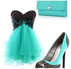 Black/turquoise dress & heels