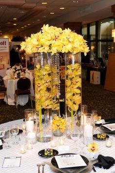 tall yellow centerpieces