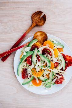 Blood orange, avocado, and shaved fennel salad with saffron lemon dressing (recipe) / by Brooklyn Supper