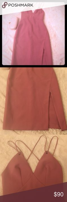 Topshop Rosepink Strappy Slit dress NWT Gorgeous rose-dusty pink color, super flattering neckline and criss-cross straps in back, has a single high slit in front. EUR 36, US 4. BNWT! Will model soon! Topshop Dresses