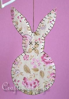Recycling Craft - Stitched Cardboard Easter Bunny Ornament