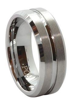 Men's Tungsten Ring 8 MM High Polish with Matt Finish Center Wedding Band Mens Wedding Rings Tungsten, Gold Wedding Rings, Wedding Ring Bands, Tungsten Rings, Fit, Rings For Men, Ebay, Design, Polish