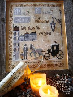 Christmas Carol Sampler cross stitch pattern by The Primitive Hare at thecottageneedle.com Charles Dickens December Scrooge holidays by thecottageneedle