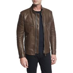 Tom Ford Leather Caf& Biker Jacket (€6.355) ❤ liked on Polyvore featuring men's fashion, men's clothing, men's outerwear, men's jackets, brown, men's apparel coats, tom ford mens jacket, mens brown jacket, mens leather moto jacket and mens brown leather jacket