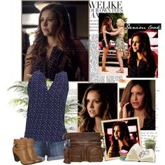 Elena Gilbert - 6x01 by iced on Polyvore featuring Joie, True Religion, New Look, Liebeskind, Nuevo and MANGO
