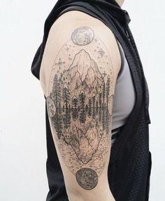 "ponyreinhardt: ""Snowy mountain lake scene with lunar phases. By Pony Reinhardt… Piercings, Piercing Tattoo, Tatoo Travel, Tattoos For Guys, Cool Tattoos, Tatoos, Mens Tattoos, Crazy Tattoos, Lake Tattoo"