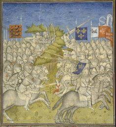 Jean II le Bon à la bataille de Poitiers (19 septembre 1356) Date 14th cent.В день сражения Иоанн и 19 рыцарей из его личной охраны оделись одинаково.Это было сделано,чтобы смутить врага, желавшего захватить короля в плен. Несм.на эту предосторожность,Иоанн был взят в плен.Хотя он боролся с доблестью, сражаясь большим боевым топором,его шлем был пробит.Окруженный,он боролся до конца, и был захвачен вместе с мл. сыном Филиппом(впоследствии герцог Бургундский Филипп II).