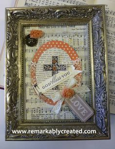 art old hymnals make great backgrounds in framed art. embellishment kit Stampin' UP! Create And Craft, Crafts To Make, Old Book Crafts, Christmas Card Crafts, Holiday Cards, Bible Art, Hymn Art, Easter Crafts, Easter Decor