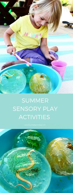Frozen water play - sensory play activities for kids and toddlers. Great play based STEM activity. More ideas on the blog.  via @4cheekymonkeys