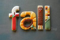 Fall letter cookies