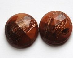 Vintage Copper Colored Faceted Glass with Goldstone Faceted Glass, Copper Color, Trending Outfits, Unique Jewelry, Handmade Gifts, Creative, Etsy, Vintage, Handcrafted Gifts