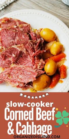 This easy Slow Cooker Corned Beef and Cabbage is absolutely delicious. Very easy to make in the slow cooker!#cornedbeef#slowcooker#beefandcabbage Slow Cooker Corned Beef, Corned Beef Recipes, Slow Cooker Recipes, Pork Recipes, Crockpot Recipes, Healthy Eating For Kids, Healthy Snacks, Healthy Recipes, Simple Recipes