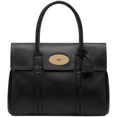 Mulberry Pembridge Bayswater Leather Grab Handbag, Black ($1,300) ❤ liked on Polyvore featuring bags, handbags, purses, bolsas, torbe, leather purse, woven leather purse, mulberry purse, black leather purse and genuine leather handbags