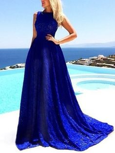 Blue Sleeveless Lace Flared Maxi Dress Royal Blue Prom Dresses, A Line Prom Dresses, Lace Bridesmaid Dresses, Lace Evening Dresses, Cheap Prom Dresses, Sexy Dresses, Blue Dresses, Lace Dress, Party Dresses