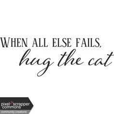 Kitty Love Word Art - Hug the Cat