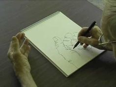 Drawing demonstration of the blind contour. Real time. Roller ball pen on Artist's Drawing Pad 9X12.