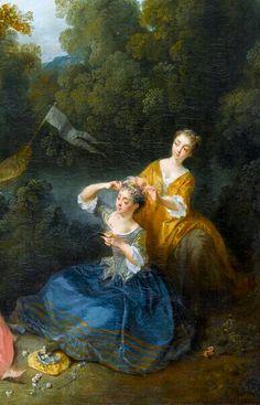 Baigneuses et spectateurs dans un paysage, ou Les Plaisirs du bain, avant 1725 Nicolas Lancret Détail