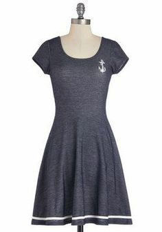 Grand Old Maritime Dress. Your idea of a good time is wearing this nautical dress, even if youre far from the coast! Literally want this dress more than anything :( Retro Vintage Dresses, 1940s Dresses, Vintage Mode, Cute Dresses, Casual Dresses, Fashion Dresses, Nautical Dress, Nautical Fashion, Nautical Style