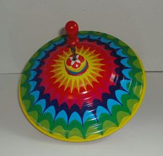 LBZ Vintage Metal Spinning Top Toy made in W. by Cosasraras, $15.00