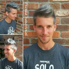 Grey hair. Silver hair. Steel blue haircolor. L'anza haircolor. Men's haircut. Men's haircolor. Grey haircolor.