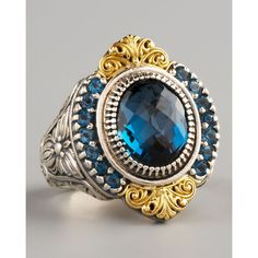 Konstantino Pave London Blue Topaz Ring ❤ liked on Polyvore