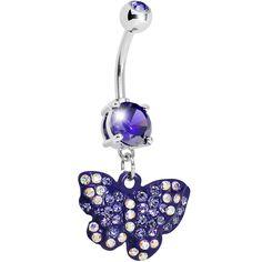 Purple Gem Sparkling Butterfly Dangle Belly Ring