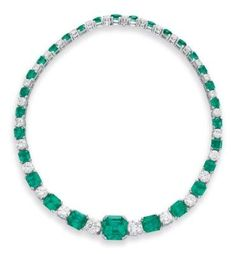 AN EMERALD AND DIAMOND NECKLACE Price realised USD 242,500 Estimate USD 80,000 - USD 120,000