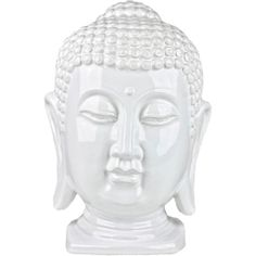 100 Essentials White Ceramic Buddha Head ($38) ❤ liked on Polyvore featuring home, home decor, fillers, white fillers, white, misc, fillers - white, white home accessories, buddha home decor and inspirational home decor