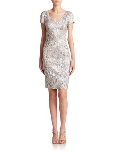 Theia Floral Brocade Sheath Dress in Silver (SILVER-TAUPE)