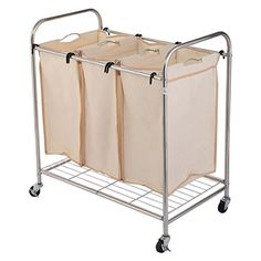 Giantex 3 Bag Laundry Rolling Cart Basket Hamper Sorter S...