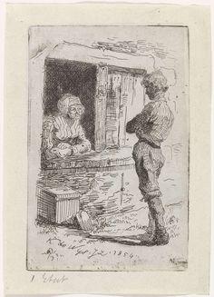 Kornelis Jzn de Wijs | Gesprek aan het venster, Kornelis Jzn de Wijs, 1854 | Een voorbijganger spreekt met een vrouw, die aan haar raam zit.