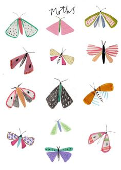 Check out the illustration work of Amyisla Mccombie. We love her illustration style. It reminds me a lot of Eric Carle's. She uses a purposely simplified style, which lends itself well to children's books. Check her out! Art Lessons, Art For Kids, Print Patterns, Art Projects, Illustration Art, Butterfly Illustration, Pattern Illustrations, Doodles, Artsy