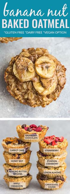 Banana Baked Oatmeal Cups – the perfect easy make ahead breakfast for busy mornings. Best of all, has all the flavors of a delicious banana bread but made with healthy / wholesome oats, banana, almond butter and chopped walnuts. Great for Sunday meal prep & lunchboxes. #bakedoatmeal #breakfast #glutenfree #dairyfree #oatmeal #muffins #healthy