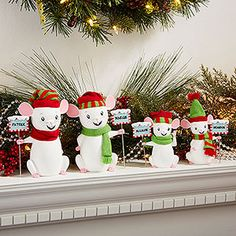 Personalized Christmas Mice for your Christmas Mantle ... SO SO SO SO CUTE!!! ... I think it would be cute to get a little mouse for each of the grandkids and give it to Grandma and Grandpa for Christmas!