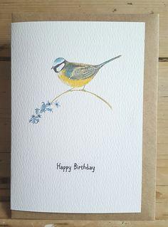 Blue tit birthday card. Blue tit painting. Hand painted blue tit. British garden bird. Bird card. hand made birthday card.