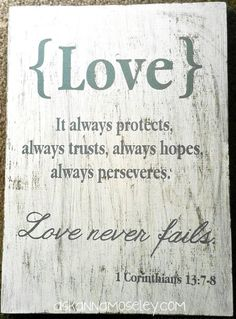 """Love never fails."" Vinyl crafts -- Ask Anna Vinyl Crafts, Vinyl Projects, My Vinyl Direct, Decoupage, Love Never Fails, Pallet Art, Silhouette Cameo Projects, Cricut Vinyl, Cute Crafts"