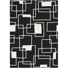 Milliken Black & White Offbeat Black Box Rug  7x10